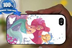 Ariel Mermaid With A Yellow Fish  Black Case For Iphone 6