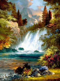 "Cheap diamond Buy Quality diy diamond directly from China diy Suppliers: Full Square Diamond DIY Diamond Painting ""Forest Waterfall"" Embroidery Cross Stitch Rhinestone Mosaic Painting Decor Gift Diy Painting, Painting Prints, Art Prints, Beautiful Paintings, Beautiful Landscapes, Landscape Art, Landscape Paintings, Landscape Lighting, Forest Waterfall"