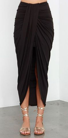 Scenic Drive Black Wrap Maxi Skirt at Lulus.com!
