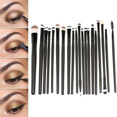 Hotrose 20 Pcs Cosmetic Makeup Brushes Set Eyeshadow Lip Brush Kits for Girls(black) -- Want additional info? Click on the image.