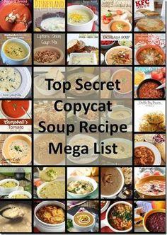 Top Secret Copycat Soup Recipe Mega List #copycatrecipes Goodrecipesonline.com