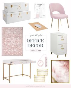 Affordable Pink and Gold Office Decor Pink Gold Office, Pink Office Decor, Home Office Space, Home Office Design, At Home Office Ideas, Office Inspo, Library Design, Office Organization At Work, Home Office Accessories