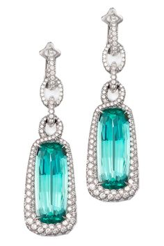 David Yurman Mint Tourmaline and Diamond Pave Twist earrings, 18K white gold, price upon request; 212-752-4255.   - HarpersBAZAAR.com
