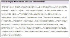 Formules de politesse pour vos lettres et courriers - learn French,vocabulary