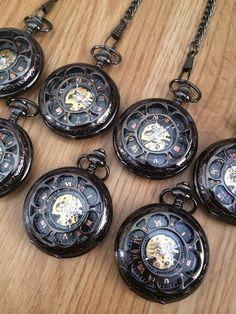 Pocket Watches Set of 8 Personalized Gunmetal Mechanical Mens Pocket watch with chains for Groomsmen