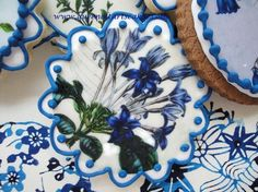 Blue and White Floral Wafer Papers  Vintage by QueenofTartsWafers