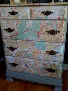 Map dresser!  This would make a cute dresser for a child's room.