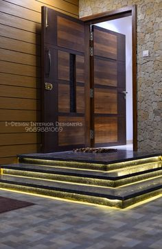 Complete interiors of a house in pune by i - design interior designer's House Main Door Design, Wooden Front Door Design, Home Door Design, Home Stairs Design, Door Gate Design, Door Design Interior, Home Building Design, Home Interior, Main Gate Design