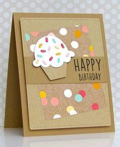 Pretty Periwinkles: CAS (E) This Sketch # 168 - Birthday - Cupcake - Diy☆ - Creative Birthday Cards, Beautiful Birthday Cards, Birthday Cards For Women, Handmade Birthday Cards, Diy Birthday, Creative Cards, Birthday Cupcakes, Funny Birthday, Oreo Cupcakes
