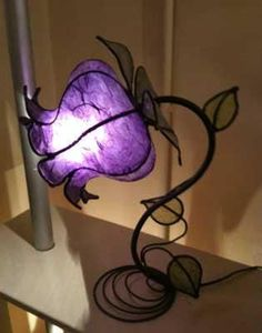 Custom Made/Hand Made Italian Purple Rose Lamp