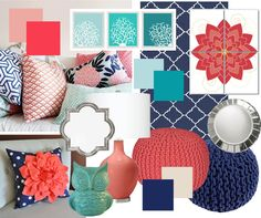 So we've finally decided on MBR colors... navy, aqua, and coral. It's current and fun and invigorating. We'll ground it with a heavy dose of navy and some beige bedding, and add some sparkle with silver and mirror accents. Yay! Coral Living Rooms, Living Room Decor With Grey Walls, Living Room Decor Turquoise, Bedroom Turquoise, Beige Bedding, Navy And Coral Bedding, Coral Mint Bedroom, Coral Walls Bedroom, Navy Bedroom Decor