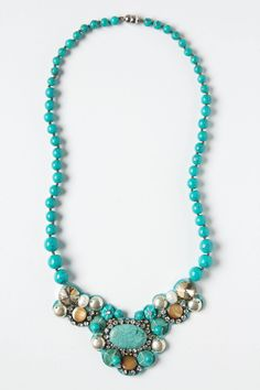 """- Magnetic closure - Silk, glass, pearls, turquoise, metal - 22""""L - 4.5"""" bib - Imported"""