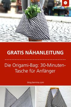Free pattern and sewing instructions for an origami bag: 30 minute beginner's bag Easy Sewing Projects, Sewing Projects For Beginners, Diy Craft Projects, Sewing Tutorials, Sewing Tips, Sewing Hacks, Sewing Patterns Free, Free Sewing, Pattern Sewing