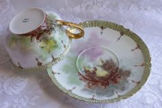Antique 19th Century Victorian Era Haviland & Co Limoges France Fine Porcelain China Tea Cup Saucer Set 1800s  Hand Painted by TresorsEnchantes on Etsy