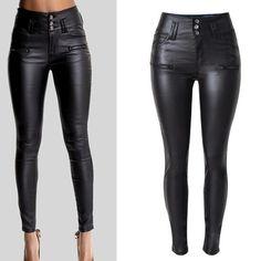 PU Leather High Waist Slim Elastic Pencil Pants