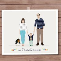 Custom illustrated family portrait. So modern and fresh.