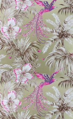 Papier peint Bird of Paradise - Matthew Williamson. bô et kitsch, plusieurs coloris, irisé. 96€ le rouleau
