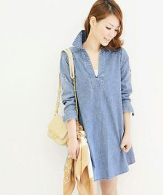 Denim one-piece by ROSSO. 100% cotton, made in Japan. #vegan