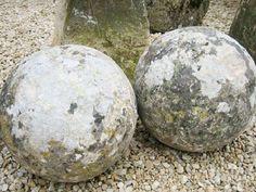 Pair of 18th century limestone balls