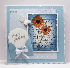 Doreens Dream: Letter & Daisy- i like this card construction