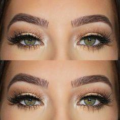 maquillage yeux marrons en amande avec faux-cils