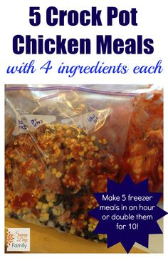 5 Crock Pot Chicken Meals with 4 Ingredients Each! Simple slow cooker chicken dinners with only 4 ingredients. Great for freezer meals! Make 5 dinners in an hour or double them for 10! {Sunny Day Family}