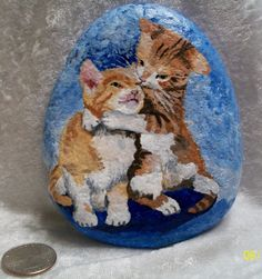 Kitten Cat Hug Orange White Tabby Hand Painted Art Rock Collectable Large #Realism