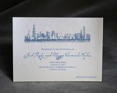 Chicago Skyline Wedding Invitation Belly Band Set of by InaBow