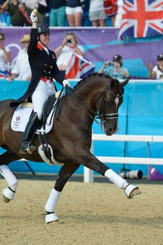 Charlotte Dujardin on Valegro after winning an individual gold in dressage.