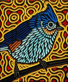 Titmouse painted woodcut block on salvaged Birch x Lisa Brawn 2013 Lino Art, Woodcut Art, Linocut Prints, Pebble Painting, Pottery Painting, Feather Art, Encaustic Art, Canadian Art, Gravure