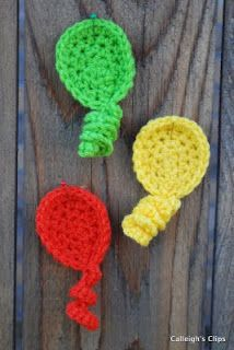 Balloon Applique pattern by Calleigh's Clips and Crochet Creations. Great little pattern and she has some awesome other stuff too Crochet Applique Patterns Free, Crochet Motif, Crochet Yarn, Crochet Flowers, Crochet Appliques, Free Pattern, Crochet Gifts, Cute Crochet, Yarn Projects
