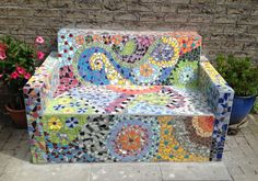 Mosaic bench made by Ellen Brouwer and Ruud van 't Hul, The Netherlands.