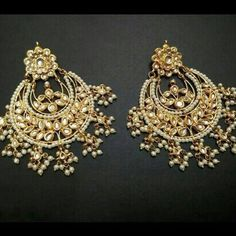 kundan earrings, chaand bali earrings, pearl drops, beads