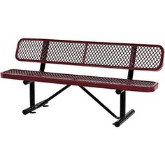 Outdoor Storage Benches - 72L Expanded Metal Mesh Bench With Back Rest Red >>> Continue to the product at the image link. (This is an Amazon affiliate link)