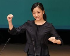 HIH Princess Kako of Japan makes a speech in sign language during the opening ceremony of the 2nd National Championship of Sign Language Performance for Senior High-School Students on September 22nd, 2015 in Yonago, Japan.
