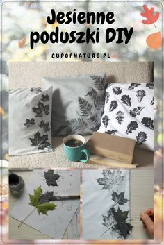 Jesienne poduszki z motywem liści DIY - proste, ale bardzo efektowne! #jesień #dekoracje #ozdoby #liście #DIY #fall #pillow #leaves #decoration #fallinspiration #falldecor #falldecoration #falldecorideas #falldecorideasdiy