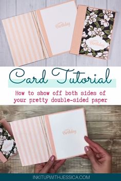 Learn how to make a beautiful card using double-sided paper. This handmade card is made so you can see both sides of your pretty paper!  Click to watch the full tutorial now. #cardmaking #tutorial #handmadecard