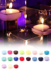 """Add a touch of color to your wedding with these round Colored Floating Candles. Use these candles with centerpieces or in votive holders to create the atmosphere that you have been looking for. Features and Facts:  They come in a wide range of colors.  Approximate burning time of 6 hours.  6 candles per package.  Measure 2 1/4"""""""" Diameter.  Glass containers not included.  Note: Due to the hot weather during summer months we recommend shipping candles by Express. Candles shipped ground will ....."""