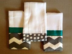 Baby Burp Cloths - Teal & Gray Set of 3 - Chevron Pattern on Etsy