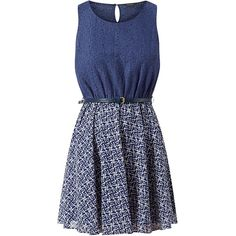 Navy 2 in 1 Lace Tile Print Belted Skater Dress (26 AUD) ❤ liked on Polyvore