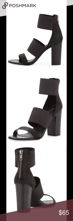 """Steve Madden Sienna black NWT sandals Sz 8 These are brand-new never worn and comes with original box. Absolutely stunning!  These are great because not only are they leather but also stretch fabric bands Make them a great fit and comfortable to wear!  Steven by Steve Madden leather and stretch fabric sandal. Round open toe. Pebbled leather band across vamp. Two stretch fabric bands across upper. Pebbled leather backstay with silvertone zipper. Approx. 3 1/2"""" stacked heel. Padded footbed…"""