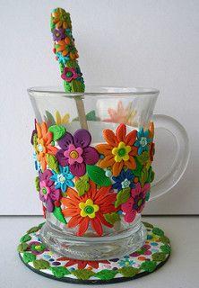 polymer clay mug by Clayart