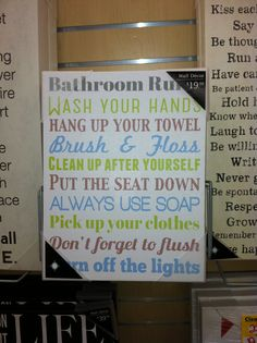 Saying for a bathroom!