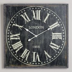 Black Bailey Wall Clock | World Market - ohh what a cool idea... chalkboard your own clock design! Thinking...