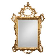Wood mirror with antiqued goldleaf finish and beveled glass. Hand carved and hand finished in Italy. 39 in. W x 56.5 in. H