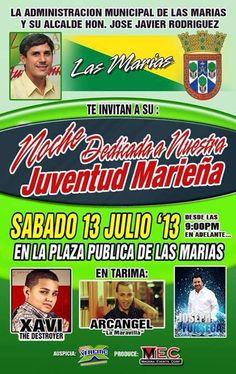 Noche Dedicada a Nuestra Juventud Marieña @ Plaza Pública, Las Marías #sondeaquipr #juventud #lasmarias