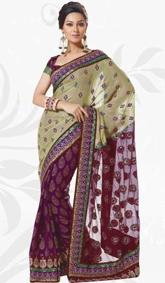 Maroon Purple Light Green Viscose Net Party Saree with Beautiful Embroidery