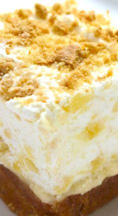 Delight Pineapple Delight ~ Perfect cold dessert for summer bbqs or potlucks. So refreshing!Pineapple Delight ~ Perfect cold dessert for summer bbqs or potlucks. So refreshing! Cold Desserts, No Bake Desserts, Easy Desserts, Delicious Desserts, Refreshing Desserts, Desserts For Summer, Cool Whip Desserts, Summer Deserts, Icebox Desserts