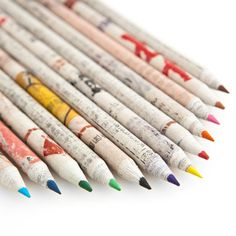Funky colored pencils made out of recycled newspaper.
