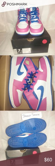 Air Jordan Retro 1 White sparkle, pink, and blue Air Jordan Nike Shoes Sneakers